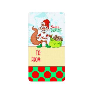 Santa Squirrel Gift Labels