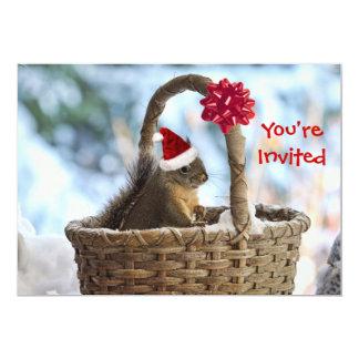 Santa Squirrel in Snow 5x7 Paper Invitation Card