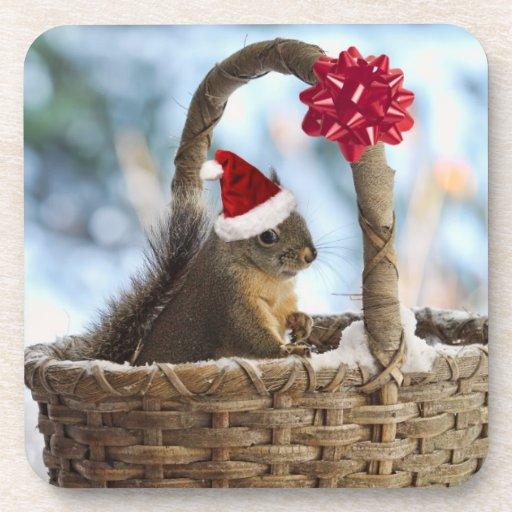 Santa Squirrel in Snow Beverage Coaster