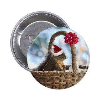 Santa Squirrel in Snow Button