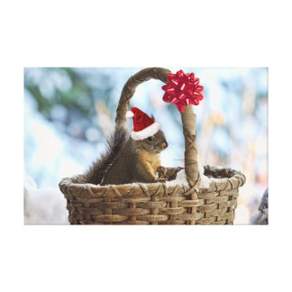 Santa Squirrel in Snow Gallery Wrapped Canvas