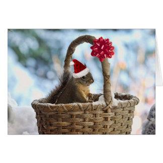 Santa Squirrel in Snow Greeting Card