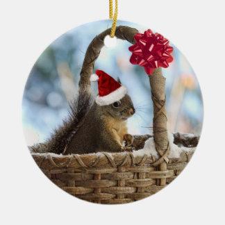 Santa Squirrel in Snow Ceramic Ornament