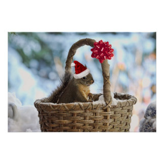Santa Squirrel in Snow Poster
