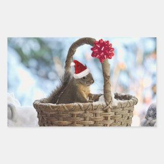 Santa Squirrel in Snow Stickers