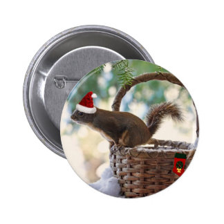 Santa Squirrel in Snowy Christmas Basket Buttons