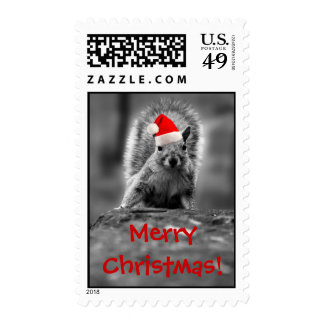 Santa Squirrel Merry Christmas Postage