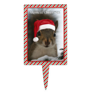 Santa Squirrel™ Says Merriest Christmas Cake Topper