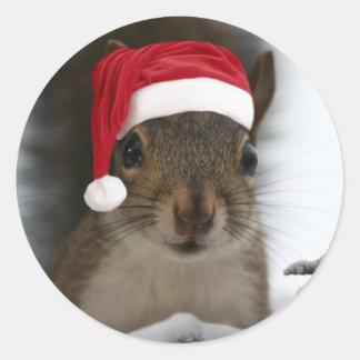 Santa Squirrel Round Stickers