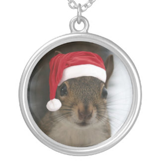 Santa Squirrel Wearing Santa Hat Silver Plated Necklace