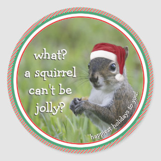 Santa Squirrel: What? A Squirrel Can't Be Jolly? Classic Round Sticker