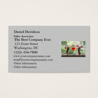 Santa Squirrels Drinking a Cocktail Business Card