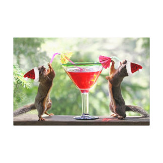Santa Squirrels Drinking a Cocktail Canvas Print