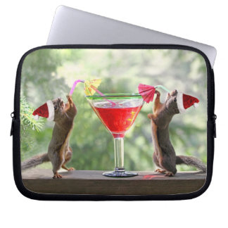 Santa Squirrels Drinking a Cocktail Computer Sleeve