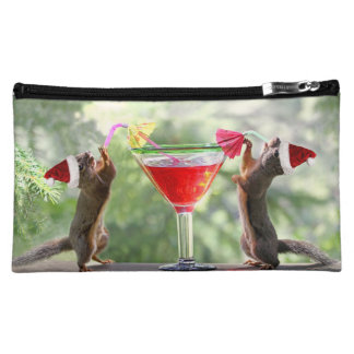 Santa Squirrels Drinking a Cocktail Cosmetic Bag