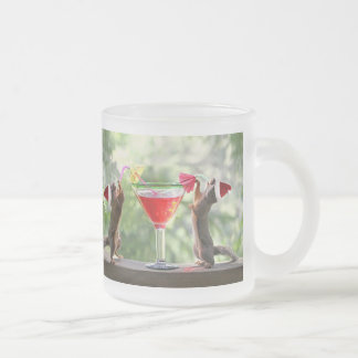 Santa Squirrels Drinking a Cocktail Frosted Glass Coffee Mug