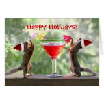 Santa Squirrels Drinking a Cocktail Greeting Cards