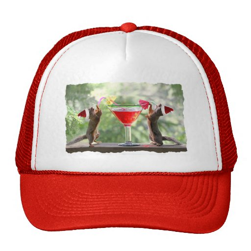 Santa Squirrels Drinking a Cocktail Mesh Hat