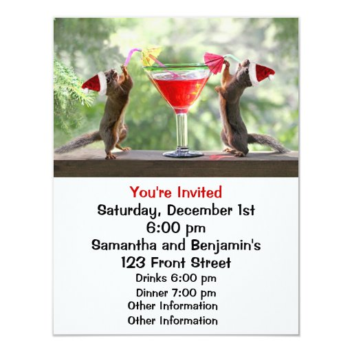 Santa Squirrels Drinking a Cocktail 4.25x5.5 Paper Invitation Card