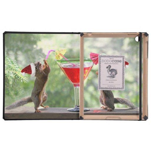 Santa Squirrels Drinking a Cocktail iPad Case