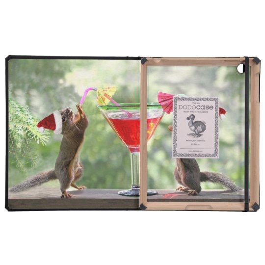 Santa Squirrels Drinking a Cocktail iPad Case