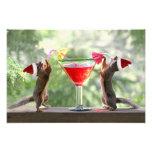 Santa Squirrels Drinking a Cocktail Photo Print