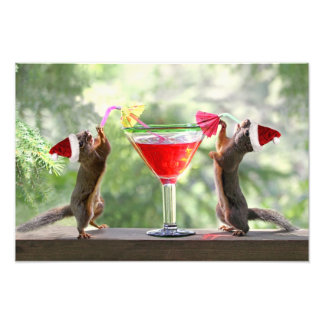 Santa Squirrels Drinking a Cocktail Photo Print