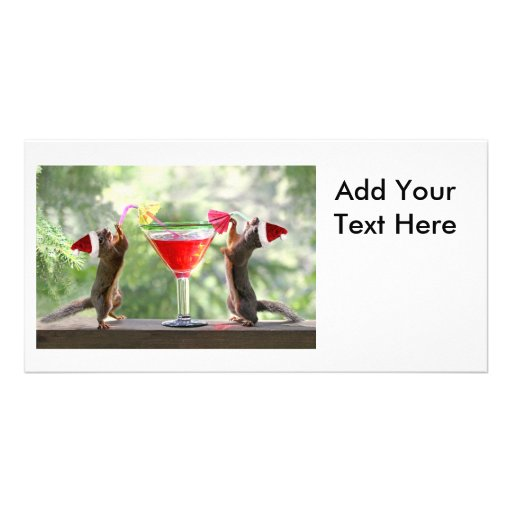 Santa Squirrels Drinking a Cocktail Customized Photo Card