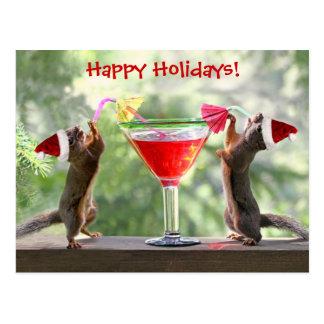 Santa Squirrels Drinking a Cocktail Postcard