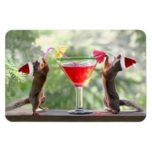 Santa Squirrels Drinking a Cocktail Rectangular Photo Magnet