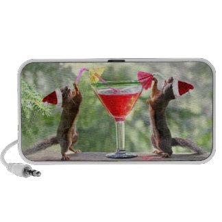 Santa Squirrels Drinking a Cocktail Mini Speaker