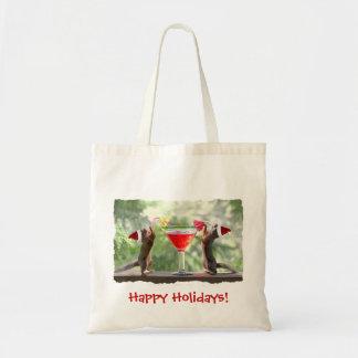 Santa Squirrels Drinking a Cocktail Tote Bag