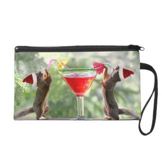Santa Squirrels Drinking a Cocktail Wristlet Purse