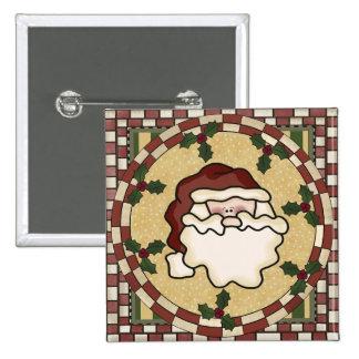 Santa St. Nick Square Christmas Button