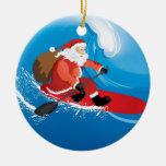 Santa Stand Up Paddle Christmas Tree Ornament
