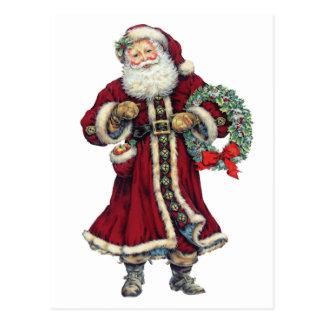 santa standing vintage postcard