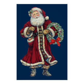 santa standing vintage poster