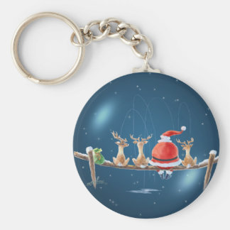 SANTA, STARS & REINDEER FISHING   by SHARON SHARPE Keychain
