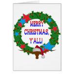 Santa Steer - Merry Christmas Y'all Greeting Card