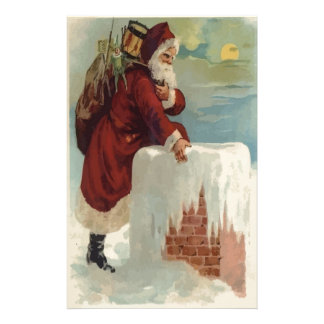 Santa Stepping Into A Chimney Stationery