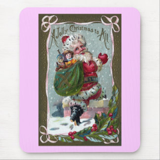 Santa Stepping Into Chimney Mouse Pad