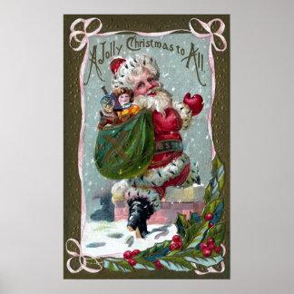 Santa Stepping Into Chimney Poster