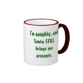 santa still brings me presents ringer coffee mug