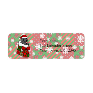 Santa Stocking Black Labrador Puppy Cartoon Label