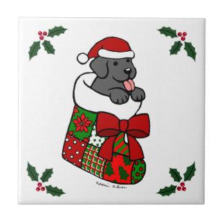 Santa Stocking Black Labrador Puppy Cartoon Ceramic Tile