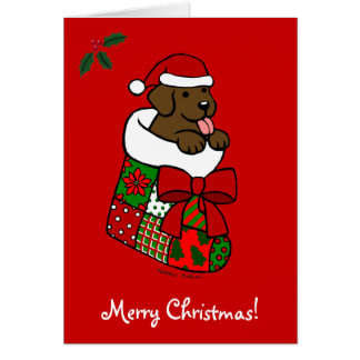 Santa Stocking Chocolate Lab Puppy Cartoon Card