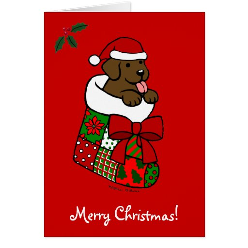 Santa Stocking Chocolate Lab Puppy Cartoon Card
