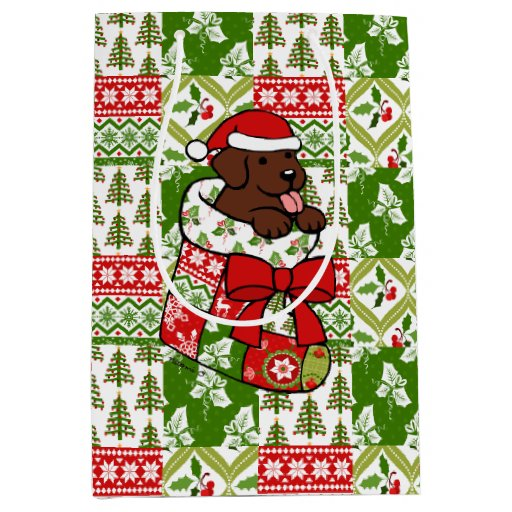 Santa Stocking Chocolate Labrador Gift Bag