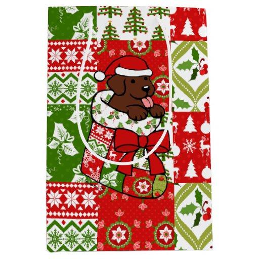 Santa Stocking Chocolate Labrador Gift Bag Red