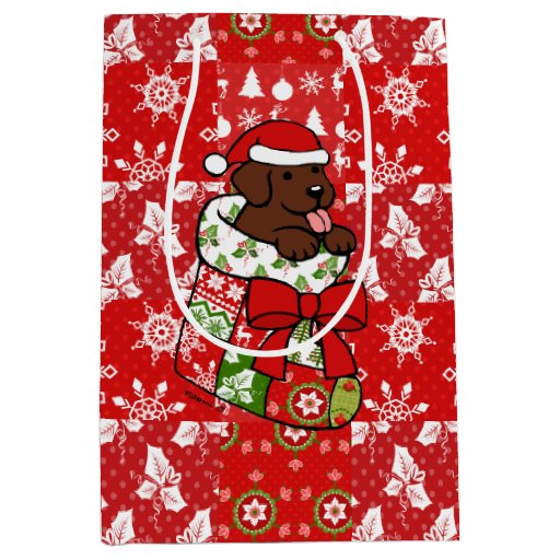 Santa Stocking Chocolate Labrador Gift Bag Red